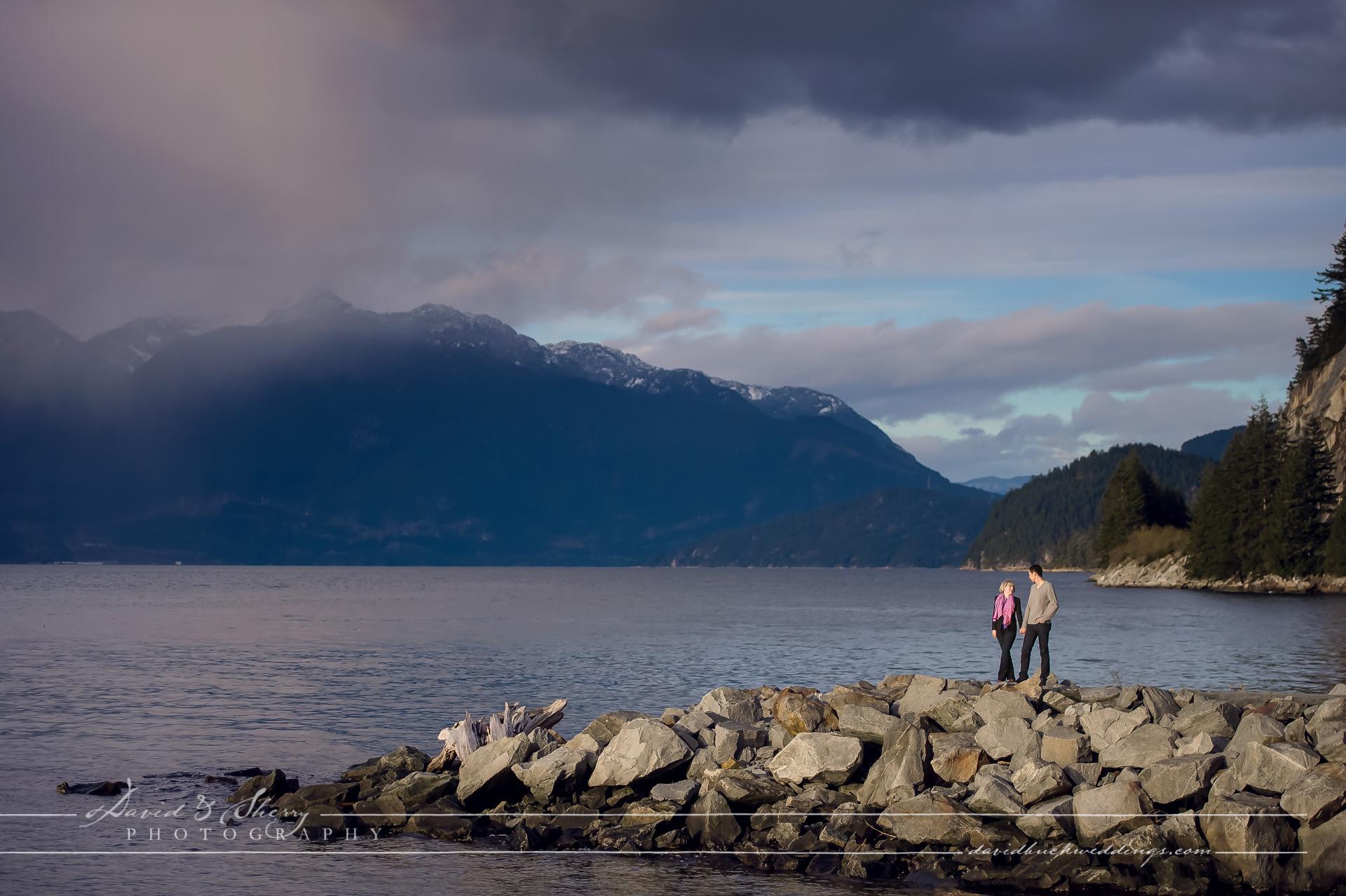 View towards Whistler British Columbia during a fall pre-wedding photo shoot
