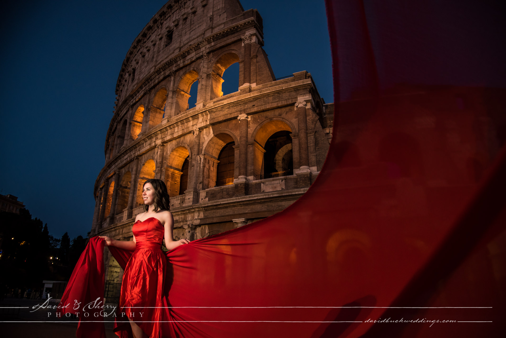 Red Veil and Dress Italy Destination Photography
