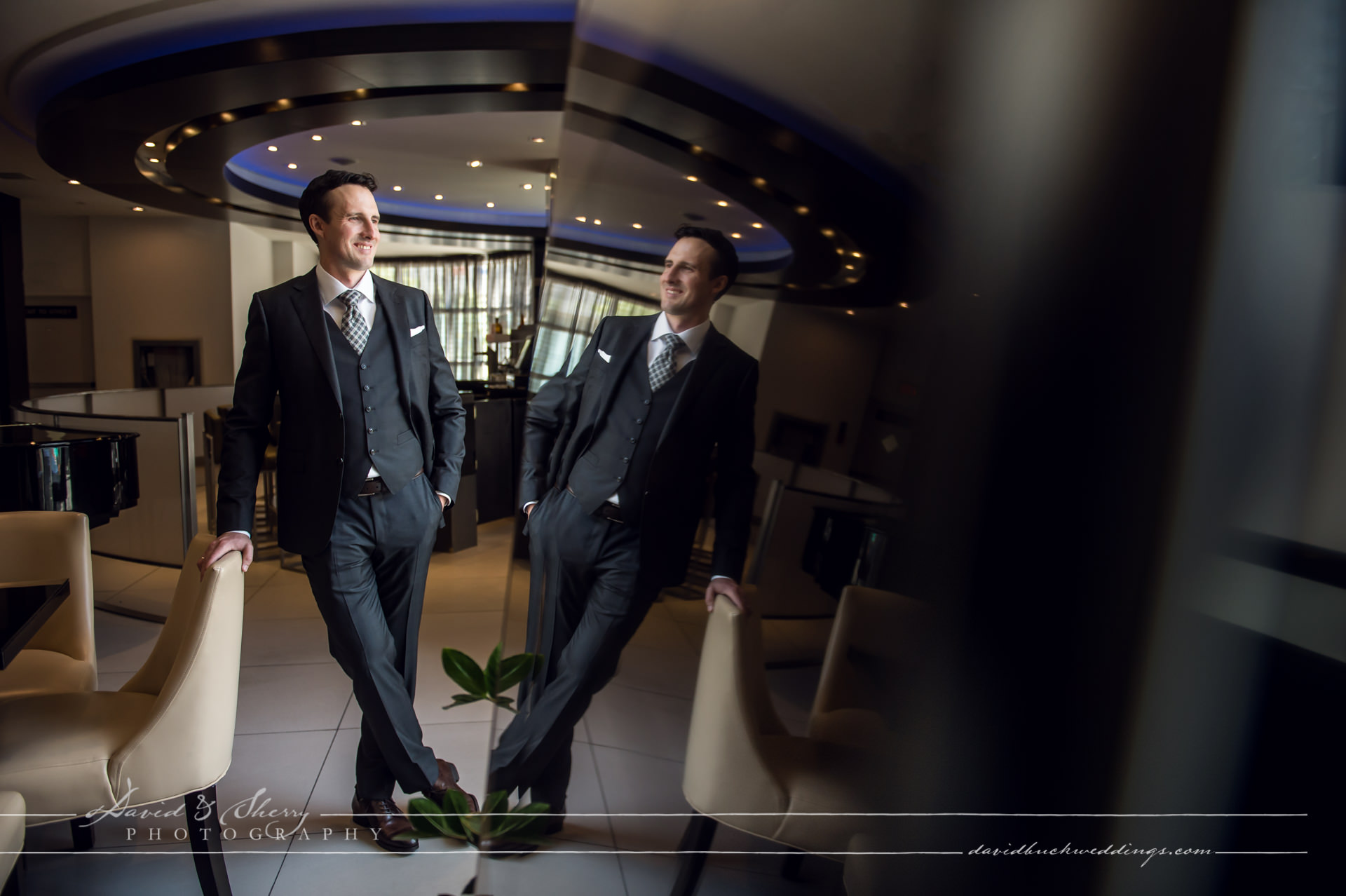 David & Sherry Photography - Groom Portrait at Hyatt Regency Toronto