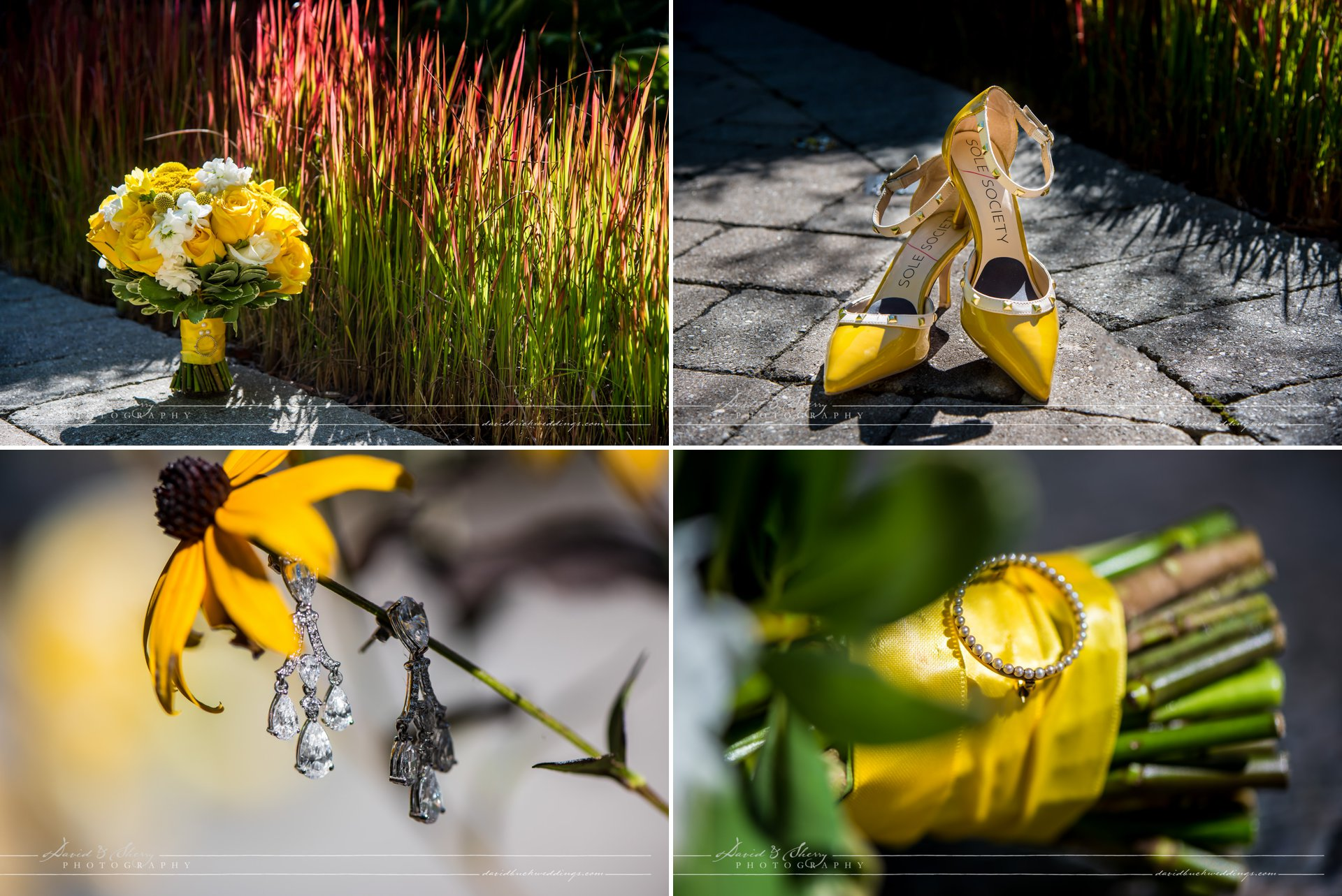 Yellow floral details for this Thornbury wedding