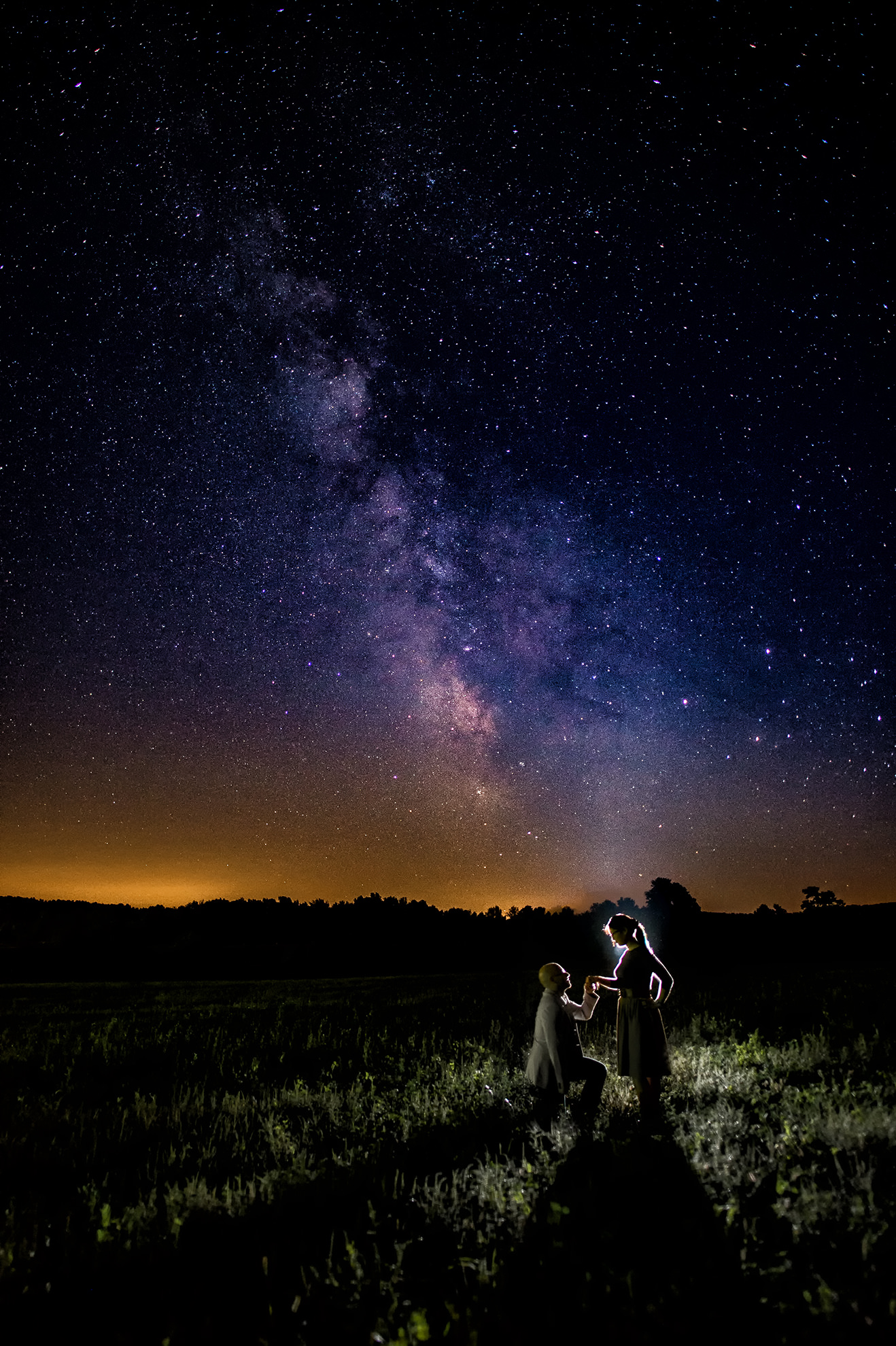 Starry night engagement photos