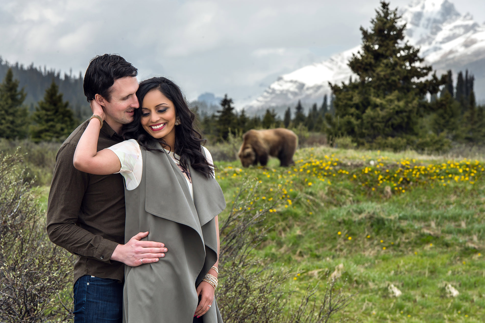 Banff engagement with bear