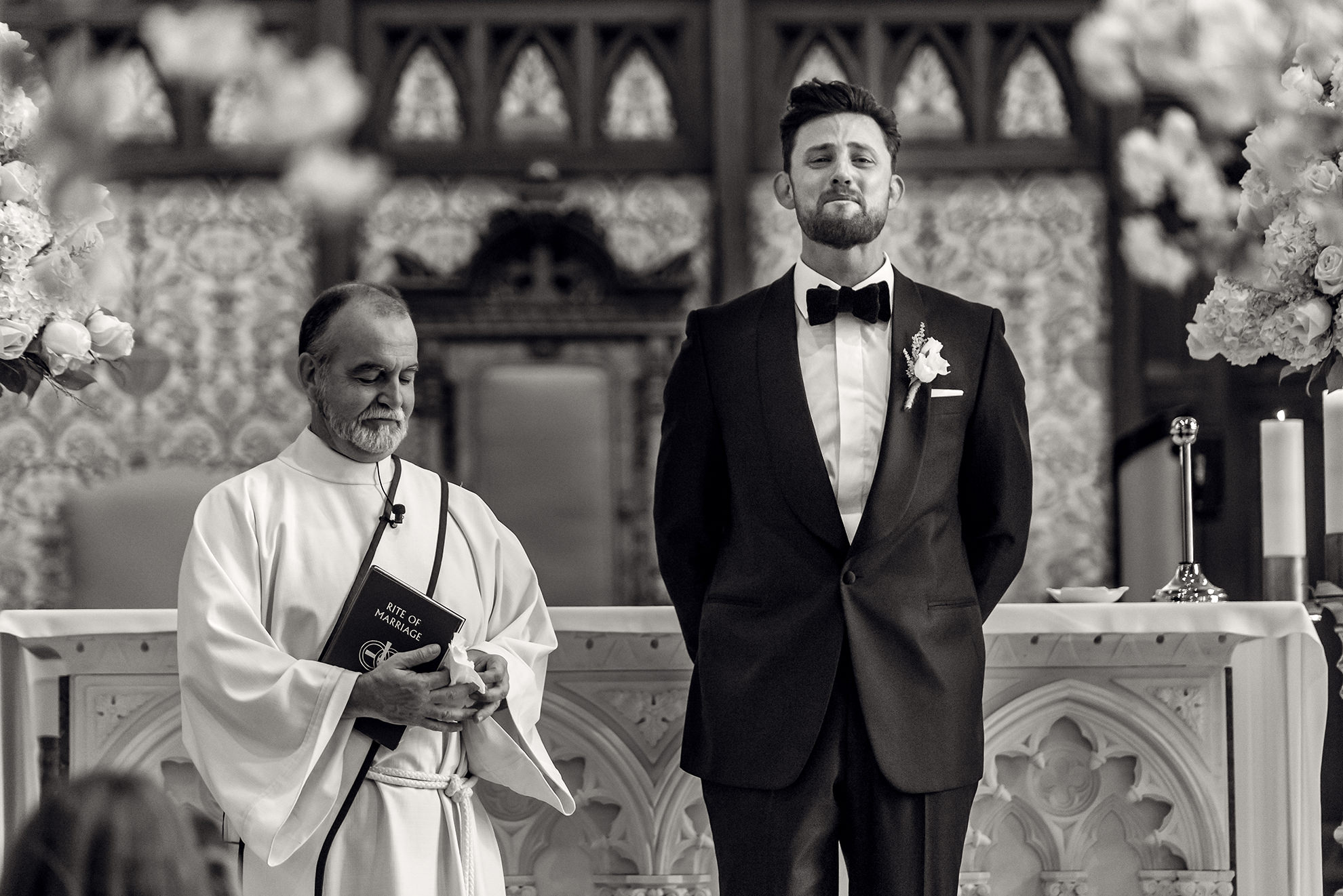 Groom's emotion as he sees his bride walking down the aisle